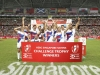 France players celebrate the Challenge Trophy Final win over Scotland on day two of the HSBC World Rugby Sevens Series in Singapore on 14 April, 2019. Photo credit: Mike Lee - KLC fotos for World Rugby