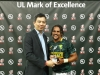 South Africa's Selvyn Davids receives the UL Mark of Excellence award after the Cup Final against Fiji on day two of the HSBC World Rugby Sevens Series in Singapore on 14 April, 2019. Photo credit: Mike Lee - KLC fotos for World Rugby