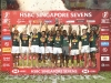 South Africa players celebrate the Cup Final win over Fiji on day two of the HSBC World Rugby Sevens Series in Singapore on 14 April, 2019. Photo credit: Mike Lee - KLC fotos for World Rugby