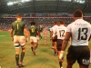 South Africa and Fiji players enter the game on day two of the HSBC World Rugby Sevens Series in Singapore on 14 April, 2019. Photo credit: Mike Lee - KLC fotos for World Rugby