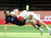 England's Phil Burgess tackles against Scotland's Scott Riddell on day one of the HSBC World Rugby Sevens Series in Vancouver on 9 March, 2019. Photo credit: Mike Lee - KLC fotos for World Rugby
