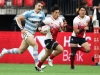 Japan's Yoshihiro Noguchi races away from the Argentina defense for a try on day one of the HSBC World Rugby Sevens Series in Vancouver on 9 March, 2019. Photo credit: Mike Lee - KLC fotos for World Rugby