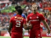 Canada's Harry Jones and Mike Fuailefau celebrate a try against Samoa on day one of the HSBC World Rugby Sevens Series in Vancouver on 9 March, 2019. Photo credit: Mike Lee - KLC fotos for World Rugby