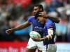 Samoa captain David Afamasaga and Murphy Paulo celebrate a try against Canada on day one of the HSBC World Rugby Sevens Series in Vancouver on 9 March, 2019. Photo credit: Mike Lee - KLC fotos for World Rugby