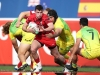 Wales' Owen Jenkins charges through the Australia defense on day one of the HSBC World Rugby Sevens Series in Las Vegas on 1 March, 2019. Photo credit: Mike Lee - KLC fotos for World Rugby