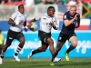 Fiji's Waisea Nacuqu races away from the Scotland defense on day one of the HSBC World Rugby Sevens Series in Las Vegas on 1 March, 2019. Photo credit: Mike Lee - KLC fotos for World Rugby