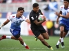 New Zealand's Regan Ware cuts through the Samoa defense on day one of the HSBC World Rugby Sevens Series in Las Vegas on 1 March, 2019. Photo credit: Mike Lee - KLC fotos for World Rugby