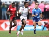 USA's Carlin Isles races away from the Kenya defense on day one of the HSBC World Rugby Sevens Series in Las Vegas on 1 March, 2019. Photo credit: Mike Lee - KLC fotos for World Rugby