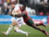 Kenya's Vincent Onyala tackles against USA on day one of the HSBC World Rugby Sevens Series in Las Vegas on 1 March, 2019. Photo credit: Mike Lee - KLC fotos for World Rugby