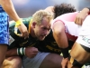 South Africa captain Philip Snyman in a scrum against Japan on day one of the HSBC World Rugby Sevens Series in Las Vegas on 1 March, 2019. Photo credit: Mike Lee - KLC fotos for World Rugby