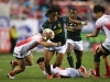 South Africa's Stedman Gans charges through the Japan defense on day one of the HSBC World Rugby Sevens Series in Las Vegas on 1 March, 2019. Photo credit: Mike Lee - KLC fotos for World Rugby