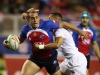 Chile's Ignacio Silva drives through the England defense on day one of the HSBC World Rugby Sevens Series in Las Vegas on 1 March, 2019. Photo credit: Mike Lee - KLC fotos for World Rugby