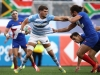Argentina's Santiago Alvarez Fourcade fends off the France defense on day one of the HSBC World Rugby Sevens Series in Las Vegas on 1 March, 2019. Photo credit: Mike Lee - KLC fotos for World Rugby