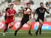New Zealand's Andrew Knewstubb cuts through the Wales defense for a try on day one of the HSBC Cape Town Sevens 2019 men's competition on 13 December, 2019. Photo credit: Mike Lee - KLC fotos for World Rugby