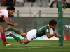 South Africa's Kurt-Lee Arendse dives in a try around the corner against Japan on day one of the HSBC Cape Town Sevens 2019 men's competition on 13 December, 2019. Photo credit: Mike Lee - KLC fotos for World Rugby