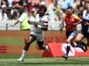 USA's Carlin Isles races away from the Japan defense for a try on day two of the HSBC Cape Town Sevens 2019 men's competition on 14 December, 2019. Photo credit: Mike Lee - KLC fotos for World Rugby