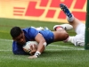 France's Remi Siega slides in a try against England on day two of the HSBC Cape Town Sevens 2019 men's competition on 14 December, 2019. Photo credit: Mike Lee - KLC fotos for World Rugby