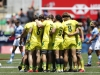 Australia team huddle prior to the game against Argentina on day one of the HSBC New Zealand Sevens 2020 men's competition at FMG Stadium Waikato on 25 January, 2020 in Hamilton, New Zealand. Photo credit: Mike Lee - KLC fotos for World Rugby