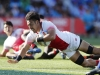 Japan's Dai Ozawa dives in a try against Kenya on day one of the HSBC New Zealand Sevens 2020 men's competition at FMG Stadium Waikato on 25 January, 2020 in Hamilton, New Zealand. Photo credit: Mike Lee - KLC fotos for World Rugby