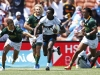 Kenya's Geofrey Okwach races away from the South Africa defense for a try on day two of the HSBC New Zealand Sevens 2020 men's competition at FMG Stadium Waikato on 26 January, 2020 in Hamilton, New Zealand. Photo credit: Mike Lee - KLC fotos for World Rugby