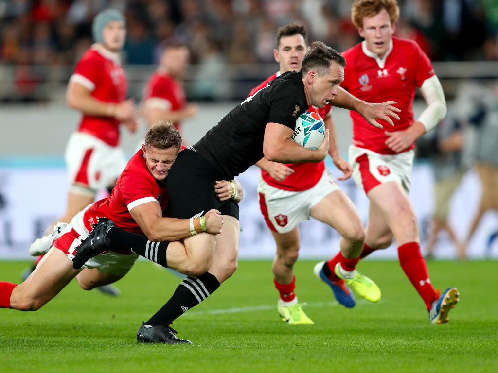 New Zealand's Ben Smith goes on to score his sides third try during the 2019 Rugby World Cup bronze final match at Tokyo Stadium. PA Photo. Picture date: Friday November 1, 2019. See PA story RUGBYU Wales. Photo credit should read: David Davies/PA Wire. RESTRICTIONS: Editorial use only. Strictly no commercial use or association. Still image use only. Use implies acceptance of RWC 2019 T&Cs (in particular Section 5 of RWC 2019 T&Cs) at URL: bit.ly/2knOId6